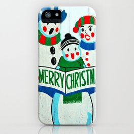 Singing Snowman Family iPhone Case
