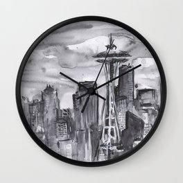 Seattle Skyline Watercolor Space Needle Washington PNW Wall Clock