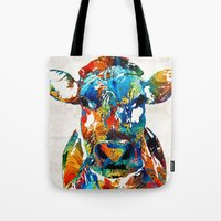 nba Tote Bags featuring Colorful Cow Art - Mootown - By Sharon Cummings by Sharon Cummings