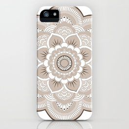Beige & White Mandala iPhone Case