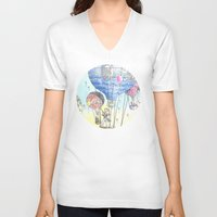 hot air balloon V-neck T-shirts featuring Hot air balloon party by Dreamy Me