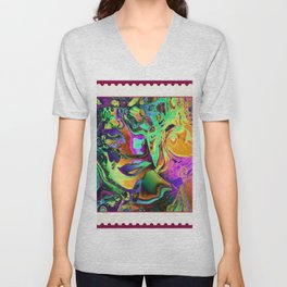 A STAMP FOR MARDI GRAS Unisex V-Neck