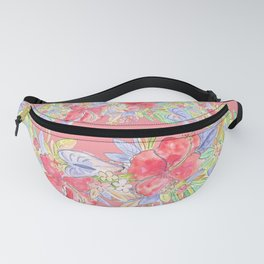 hawaiian flowers red pink Fanny Pack