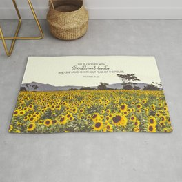 Proverbs and Sunflowers Rug