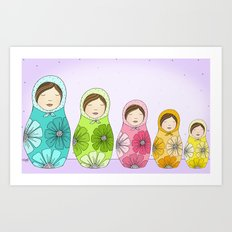 Sweet Little Matryoshkas Art Print