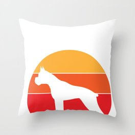 Vintage Retro 80s Boxer Dog for Canine Friendly Families design Throw Pillow