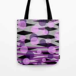 Waves pink grey with pik purple dots Tote Bag