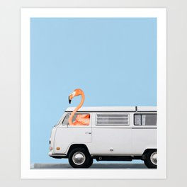 The Flamingo & His Adventure Van Art Print