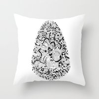 monster inc Throw Pillows featuring Egg inc by Infra_milk