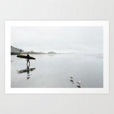Surfing at Sumner Art Print