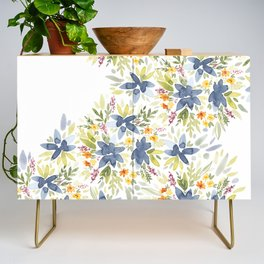 Blue Watercolor Florals Credenza