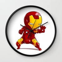 ironman Wall Clocks featuring IRONMAN by MauroPeroni