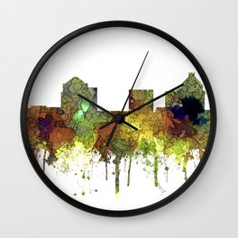 Greensboro NC Skyline SG - Safari Buff Wall Clock