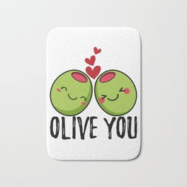 Olive You | I Love You | Valentine's Day Heart Bath Mat