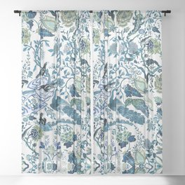 Blue vintage chinoiserie flora Sheer Curtain