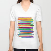 blondie V-neck T-shirts featuring Colorful Stripes 1 by Mareike Böhmer