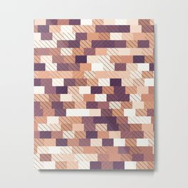 Solid brick wall with diagonal crossed lines, redwod and eggplant colored print Metal Print