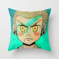 dangan ronpa Throw Pillows featuring Fuyuhiko by Agui-chan