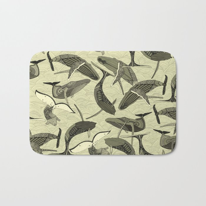 whales and waves natural Bath Mat