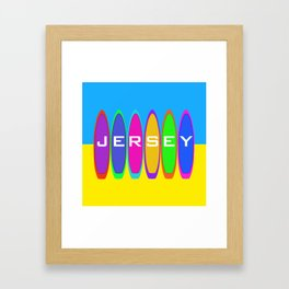 Jersey Surfboards on the Beach Framed Art Print