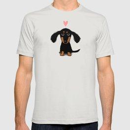 Dachshund Love   Cute Longhaired Black and Tan Wiener Dog T-shirt