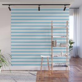 Oktoberfest Bavarian Blue and White Large Mattress Ticking Stripes Wall Mural