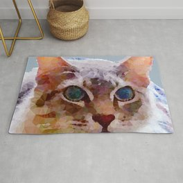 Cat Named Bella Low Poly Geometric Triangles Rug