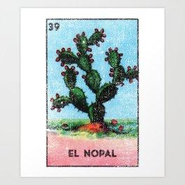 El Nopal Mexican Loteria Bingo Card Art Print