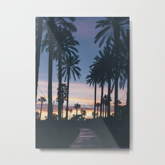 Sunset in the City (Hawaii Tropical Palm Trees) Metal Print