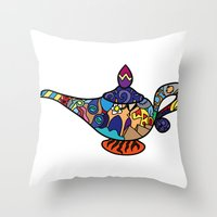 aladdin Throw Pillows featuring Looking for the genie by Ilse S