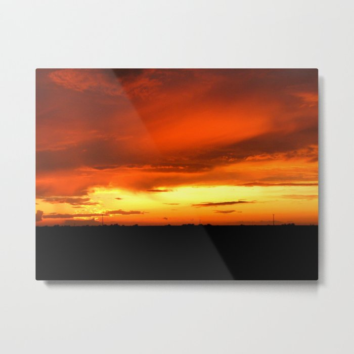 Sunset Over The Fields Metal Print