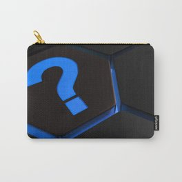 Blue question mark on hexagons - 3D rendering Carry-All Pouch