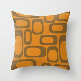 Mid Century Modern Shapes 1970s Orange And Brown #society6 #buyart  Throw Pillow