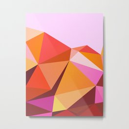 Vibrant abstract landscape - Peach Pink Red Metal Print