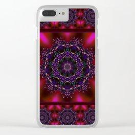 Purple and Green Modern Bejeweled Mandala Clear iPhone Case