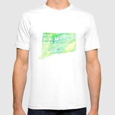 Typographic Connecticut - green watercolor White Mens Fitted Tee MEDIUM