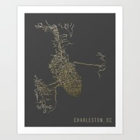 CHARLESTON, SC GOLD GRADIENT MAP Art Print