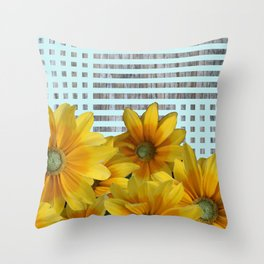 Criss Cross Yellow Flowers Throw Pillow