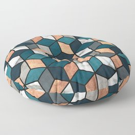 Copper, Marble and Concrete Cubes with Blue Floor Pillow