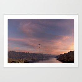 Sunset over Lake Wakatipu Art Print