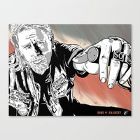 sons of anarchy Canvas Prints featuring Sons of Anarchy - Jax by Averagejoeart