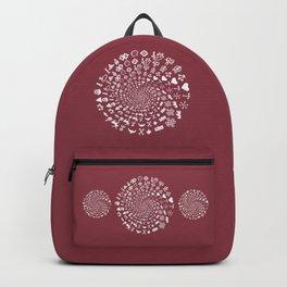 Merlot Love Symbol Mandala Backpack