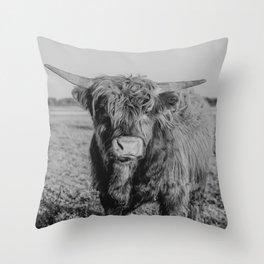 Scottish Highland cow   Dutch nature   Animal art print Throw Pillow