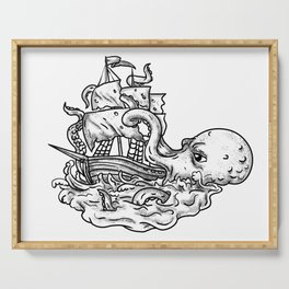 Kraken Attacking Ship Tattoo Grayscale Serving Tray