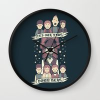 the goonies Wall Clocks featuring Down Here by Teo Zirinis