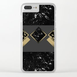 Black Marble Meets Tropical Palms Geo #1 #decor #art #society6 Clear iPhone Case