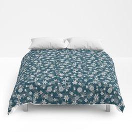 Christmas Winter Night Blue Snow Flakes Comforters