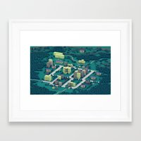 earthbound Framed Art Prints featuring EarthBound - Town of Onett [Night] by Timothy J. Reynolds