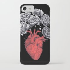 Heart with peonies on black Slim Case iPhone 7