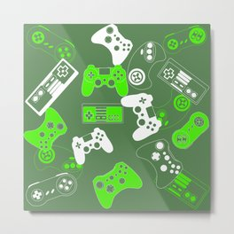 Video Games green on olive Metal Print
